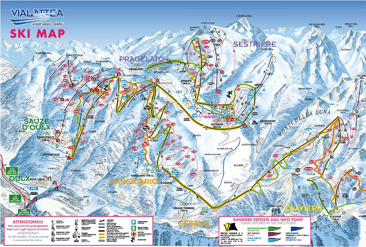 Mappa piste da sci a Sestriere